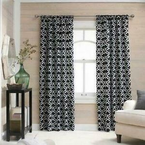 "Set of 4 Moroccan Print Curtain Panels 54"" x 95"""